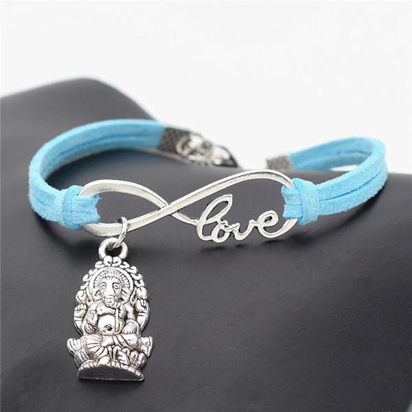 Infinity Love Meditation Elephant Religion Thailand Ganesha Buddha Jewelry Handmade Blue Leather Suede Wrap Couples Bracelets Creative Gifts