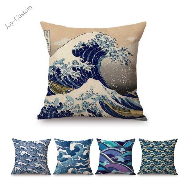Blue Sea Wave Geometric Art Startseite Dekorative Sofakissenbezug Baumwolle Leinen Platz Nordic Geometrie Stuhl Sitz Auto Kissenbezug