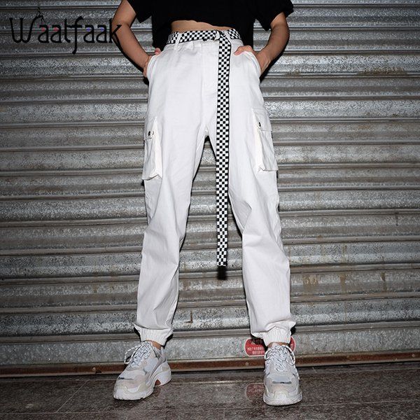 Waatfaak Cotton Woven Long Trouser Women Solid White Pocket Regular High Waist Cargo Pants Casual 2018 Summer Elegant Slim Pnats Y19071801