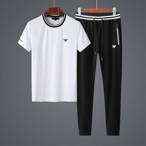 2019 Summer Mercerization Cotton Light Fabric Refreshing Motion Leisure Time Short Sleeve Suit Male Slim Fashion White Two Piece Set