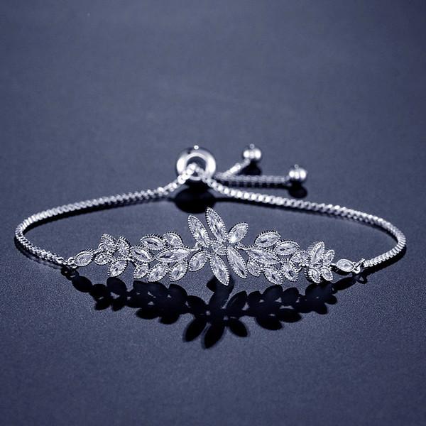2019 Sparkly CZ Bridal Bracelet Leaf Crystal Wedding Bracelet Cubic Zircon Bridesmaid Bracelet Slide Stopper Silver Rose Gold