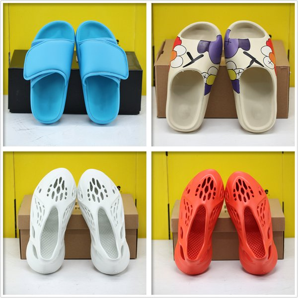 best selling Kanye sandals and slippers beach slippers fashion sneakers sole anti-slip Velcro comfortable casual sandals multicolor massage