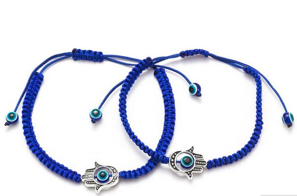 Envío gratis 12 unids / lote azul Hamsa String Evil Eye Lucky Cordón Rojo Pulseras Ajustables nuevo Regalo DIY