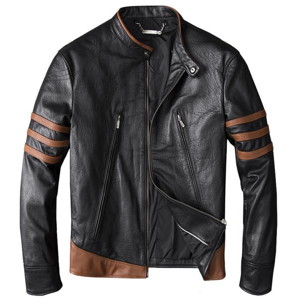 HARLEY DAMSON Homens Negros Slim Fit Jaqueta De Couro Do Motociclista Plus Size 4XL Genuína Fina De Pele De Carneiro Primavera Natural Motocicleta Casaco