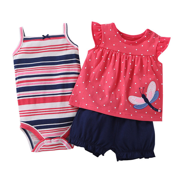 Baby Girl Clothes Set Summer 2019 Outfit Floral Red Romper+bodysuit+shorts Cotton Newborn Bebes Clothing Babies Suit New Born Y19050801