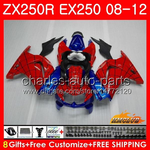 Cuerpo para KAWASAKI NINJA EX-250 ZX 250R ZX250 R EX 250 Kit 13HC.61 EX250 08 09 10 11 12 ZX250R Spider-Man 2008 2009 2010 2011 2012 Fairing