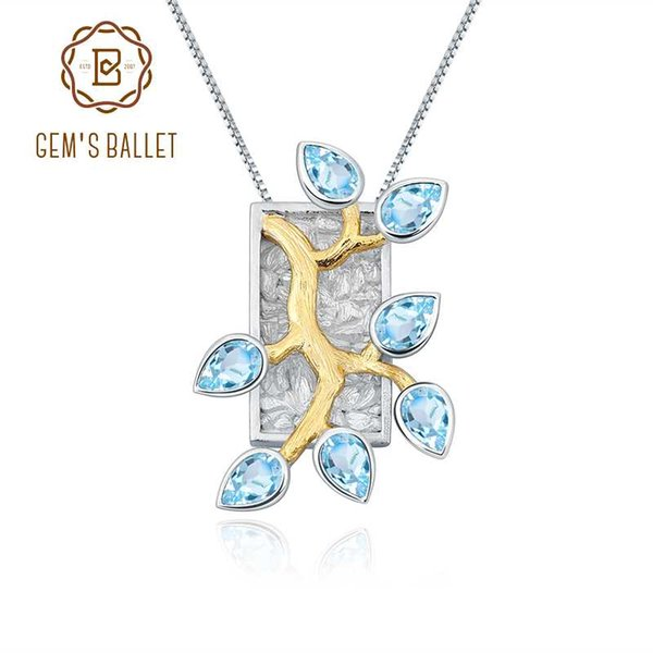 top popular GEM'S BALLET Natural Swiss Blue Topaz 925 Silver 18k Gold Plated Two Tone Handmade Madagascar Forest Pendant Necklace For Women 2021