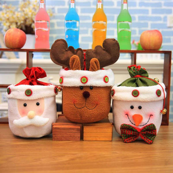 New Year Christmas Candy Gifts Bag Christmas Dolls Decorations For Home Candy Gift Bag Snowman Containers