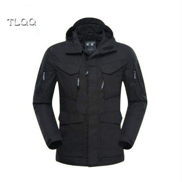 New style tactical windbreaker men's black crepe coat factory direct wholesale