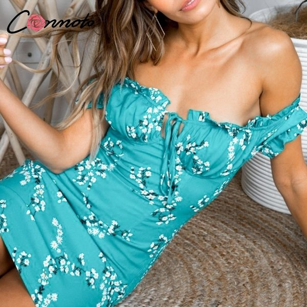 Conmoto Ruffles Off Shoulder Bodycon Women Casual Summer Short Lace Up Sexy Party Dress Vestidos Q190518