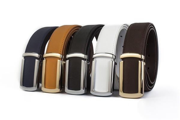 2019 moda uomo cinture in vera pelle al 100% per uomo Cinturino in metallo liscio di alta qualità con cinturino da uomo Jeans da cowboy spedizione gratuita