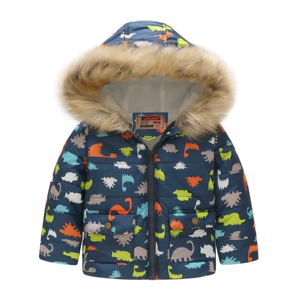 Fashion printing cartoon boy clothes warm baby girl down jacket boutique winter snowproof children's jacket toddler kid clothes