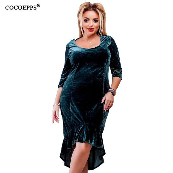 2019 donne di estate vestono più il formato grande vestito di velluto di grandi dimensioni ufficio bendaggio bodycon signora abiti sexy femminile abiti 5xl 6xl Y190426
