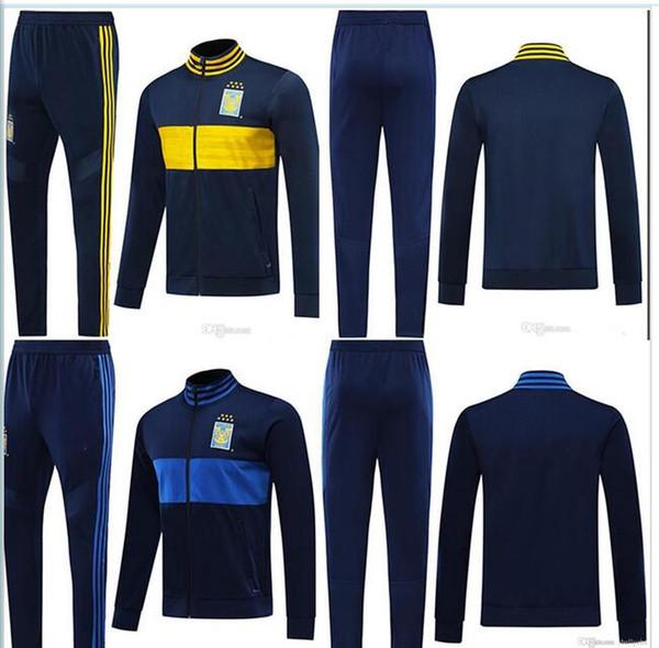 2019 2020 Тигрес UANL футбол куртки костюм 19 20 Мексика Тигрес DAMIAN Жиньяк Варгас H. длинным рукавом молния футбол куртка спортивная одежда набор