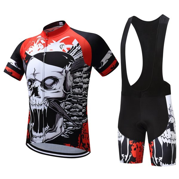 Summer Short Riding Bicycle Cycling Clothing Set Men Sport Jerseys Suits Bicycle Clothes Skull Printing Race Bicycle Wear Tights