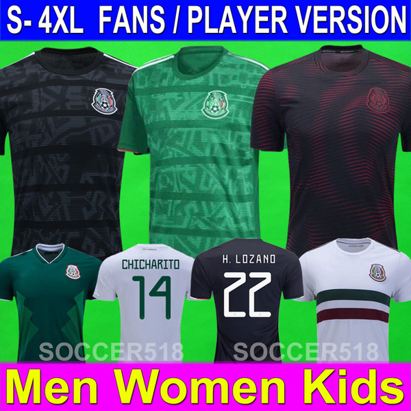 top popular S - 4XL Mexico 2019 2020 Gold Cup player version soccer jerseys WOMEN Kids CHICHARITO LOZANO 19 20 long sleeve football tshirts kits jerseys 2019