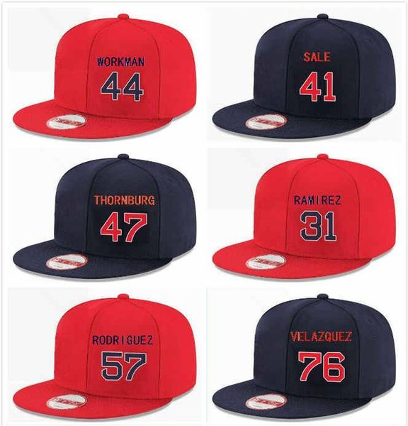 Customized Snapback Red Boston Hat Chris Sale 41 Erasmo Ramirez 31 Eduardo Rodriguez 57 Tyler Thornburg 47 Hector Velazquez 76 Workman 44
