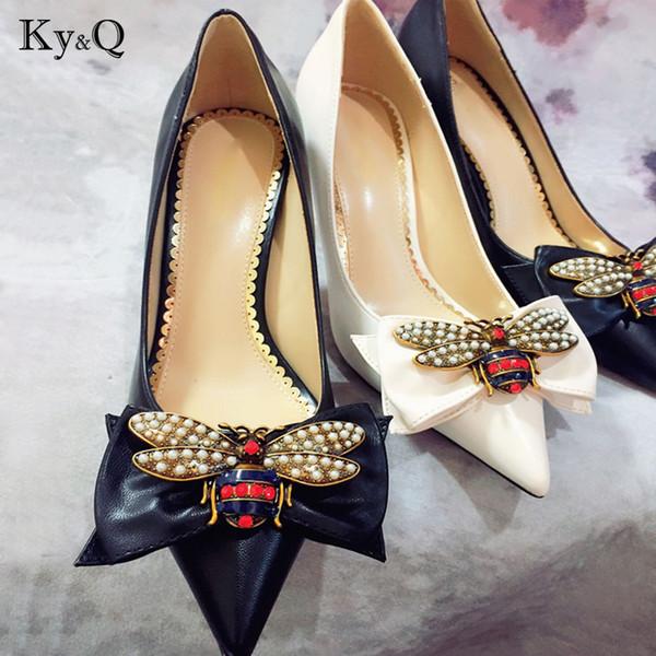 2018 Yüksek Topuk Düğün Parti Ayakkabı Kadınlar Pompaları Stiletto Ince Topuk Sivri Burun Papyon Arı Matal Zapatos Sığ Elbise 7.5 cm topuk