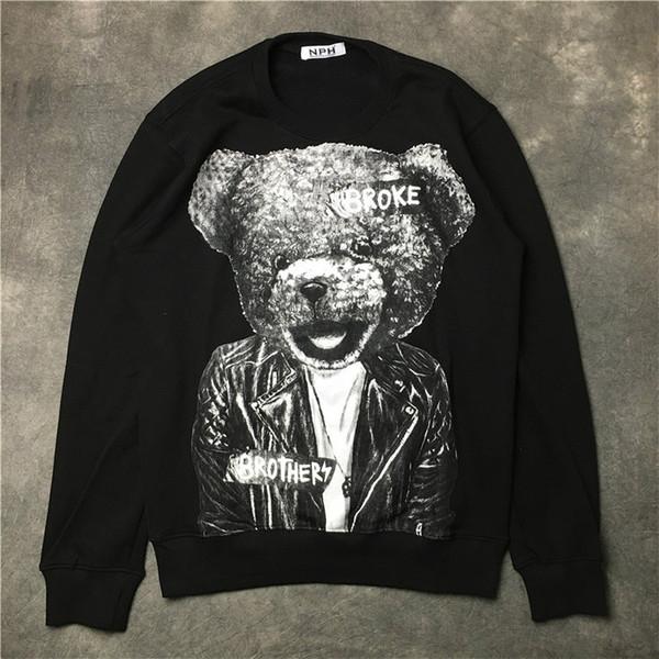 givenchy men Мужские дизайнерские толстовки новый бренд моды роскошь мультфильм медведь печатных одежды вокруг верхнего качества Граффити Животные H58
