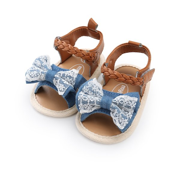 Kids Sandals 3 colors new arrivals Soft bottom anti-skid baby sandal kids girl Lace Denim Patchwork Bow baby First Walkers shoes