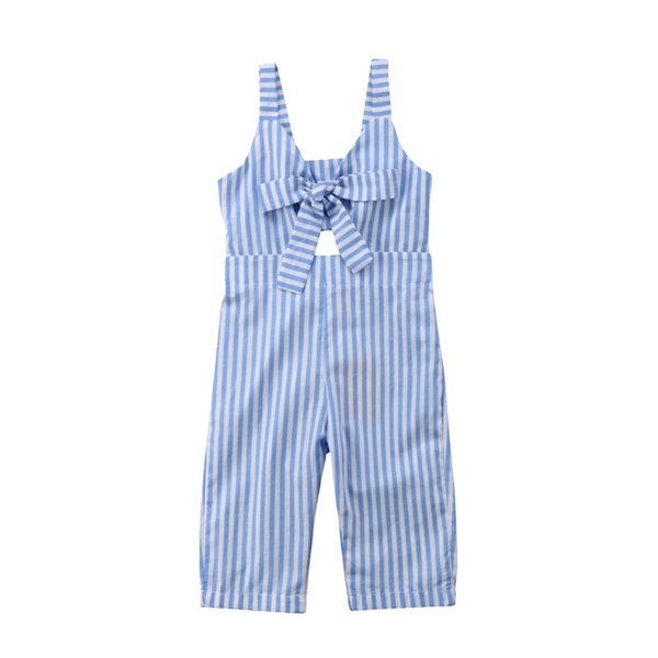 New Summer Romper For Kids Girls Fashion Toddler Kids Baby Girls V-neck Strap Romper Blue Striped Jumpsuit Long Trousers