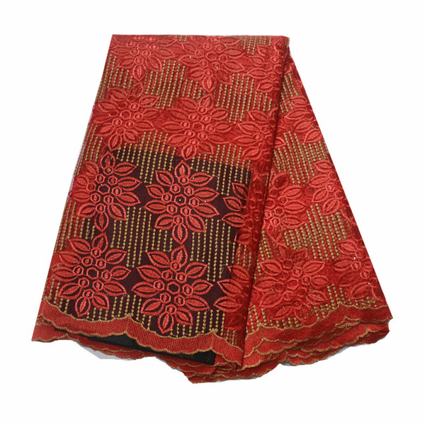 red lace fabric 2019 latest beaded nigerian french tulle net african lace fabric 2018 high quality lace tissu african fabric