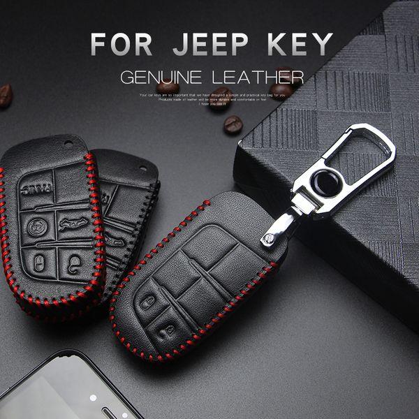 Renegade Grand Cherokee Liberté Patriot Compass en cuir clés de voiture couverture de cas pour Dodge Journey Chargeur Chrysler 200 300C