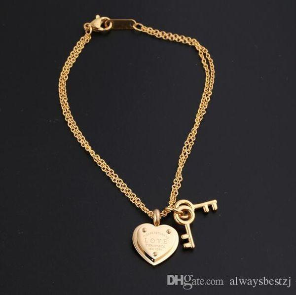 Eur Mode Coeur En Forme De Clé Pendentif Bracelet 3 Couleurs 18K En Acier Titanium Bracelet Pour Les Femmes Charme Bracelet Chaîne Bijoux Accessoires