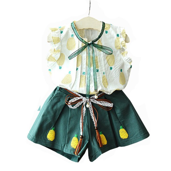 Kids Girls Clothing Sets Pineapple Printed Button Ribbon Bow Shirt Kids Designer Clothes Two-Piece Suit Bowknot Tassel Starp Elastic Shorts