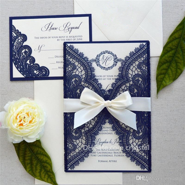 best selling NAVY CHANTILLY LACE Laser Cut Wrap Invitation - Navy Laser Cut Wedding Invitation with Ivory Shimmer Insert and Ivory Ribbon Bow