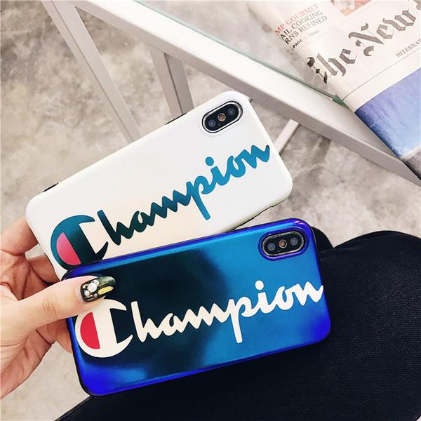 2019 novo designer phone case para iphone xsmax xr xs 7 plus 8 plus 7/8 6/6 s 6/6 sp azul marca branca letras de moda imprimir capa de luxo telefone