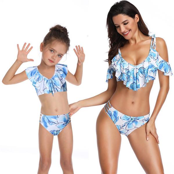 Mère Fille taille haute Bikini Deux Piece Maillots de bain Filles 2019 Ruffle Imprimer maman Maillots de bain femmes maillot de bain Summer Beach Wear