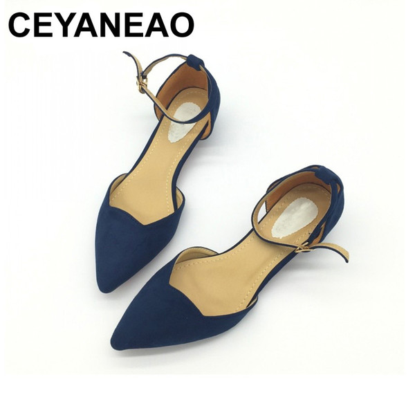 Designer Dress Shoes CEYANEAO Sexy Women Buckle Strap Low Heels Pumps Pointed Toe Flock D'Orsay Heels For Woman Ladies Single Blue