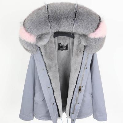 Grey fox fur trim hoody Maomaokong brand grey rex rabbit fur lining grey blue mini parkas women short jackets