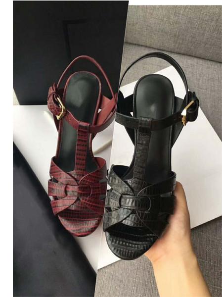 Bloc talons plate-forme sandales femme été pompes cheville boucle lézard conception en cuir sandales à talons hauts dames bureau chaussure