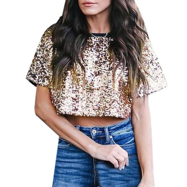 Summer Women's T-Shirt Tops Long Sleeve Glitter Sequin tshirt Clothes Sexy Bayan Gomlek Loose Female Crop Tee Shirt Funny 2019
