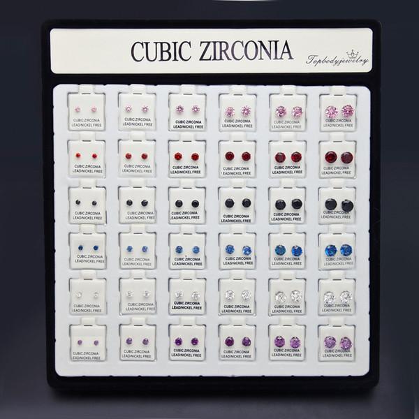 Bulk Lots 36pcs/set CZ Studs 3.5~9mm Hiphop Men Earrings Oorbellen Designer Earrings Fashion Studs Earring Jewelry Orecchini