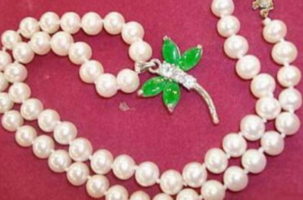 "necklace Genuine White Pearl Green Jade 18KGP Crystal Dragonfly Pendant 18"" Necklace"