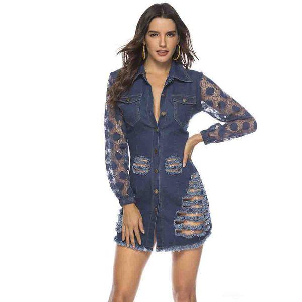 Toptan Moda Casual Bodycon Parti Kulübü Mini Elbise Denim Örgü Dantel Patchwork Delik Bahar Kadınlar Seksi Bodycon Elbiseler Bandaj Vestidos