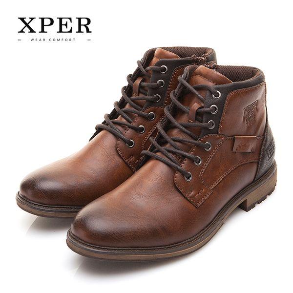 Sıcak sale-XPER Sonbahar Kış Büyük Siz Erkekler Ayakkabı Vintage Stil Erkek Botları Rahat Moda High-Cut Dantel-up Sıcak Hombre # XHY12504BR