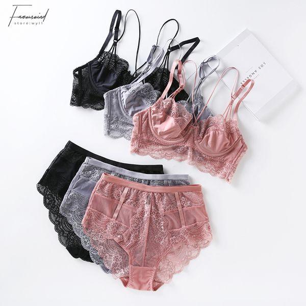 Lace ultrafinos Soutien e cintura alta Calcinhas Push Up Beauty Back Pack Mulheres Sexy Underwear Lingerie Bra Set Transparent