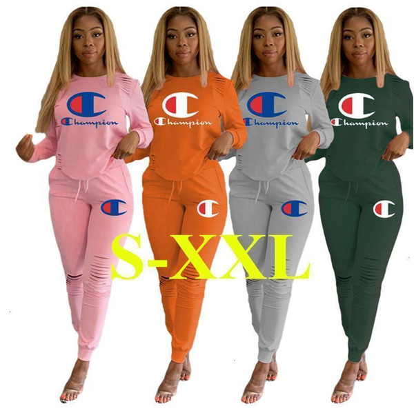 Women Champion Letters Tracksuits Long Sleeved Outfits Ripped Holes Hoodie Pullover Legging Pants 2Pcs/set Sportwear F589