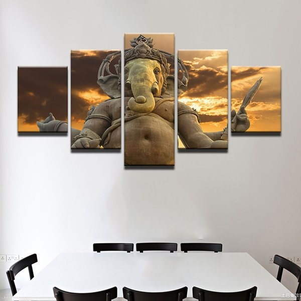 Frame Canvas Wall Art Posters Prints Canvas 5 Panel Elephant God Ganesha Painting Wall Pictures For Living Room Home Decoration
