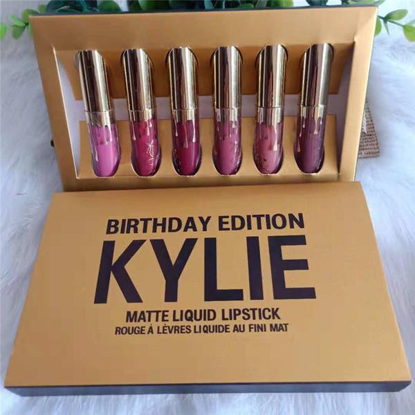 New Kylie Jenner Cosmetics Matte Liquid Lipstick Mini Kit Lip Birthday Edition Limited With the Golden Box 6pcs/set Lip Gloss 12