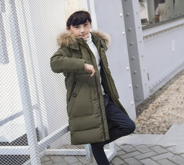 The Boy Down Jacket Winterkleidung Korean Style Warm Comfortable Der Wind Lange Mantel, um das Pelzkragen zu halten 27