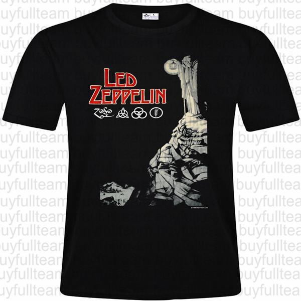 LED ZEPPELIN graphique Hommes noir à manches courtes Tops Mode col rond T-shirts Taille S M L XL 2XL 3XL