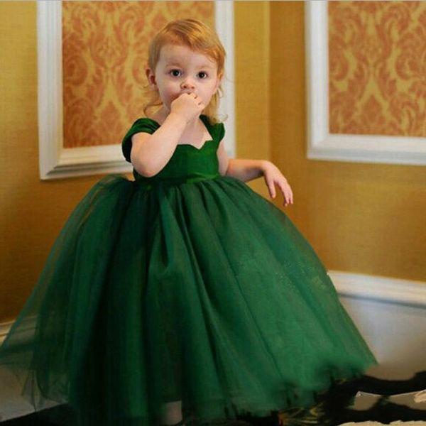 Princess Pretty 3 Colors Green purple White Flower Girls Dresses Wedding Princess Girl Pageant Gowns Full Length Tulle Kids Dresses MC0