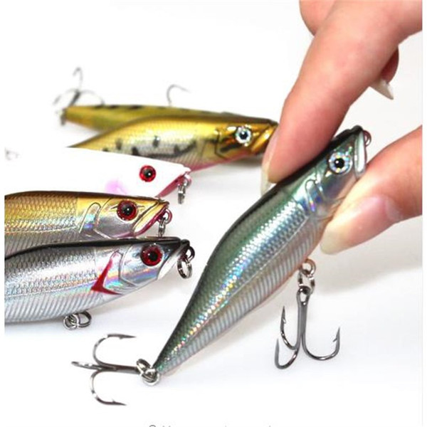 Walk Fishing 7cm 7.2g Floating Popper Fishing Lures 3D Eyes Crankbait Swimbaits Topwater Wobblers Poper Lure Pesca Japan Fishing Tackle