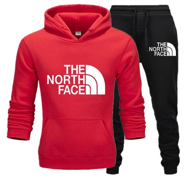 2019 Erkekler Eşofman Takımı Kış Polar Hood Baskı Ceket + Pantolon Tişörtü Erkek 2 Adet Set Kapüşonlular Spor Suit Kat siyah Plus Size S-XXXL