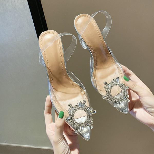 Sandali da donna Nuovo modello Scarpe con tacco alto Scarpe da donna in cristallo Misura grande